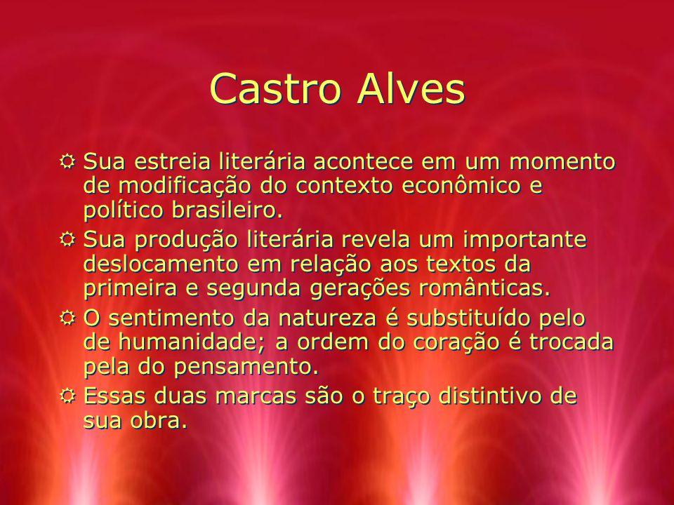 Castro Alves RSua estreia literária acontece em um momento de modificação do contexto econômico e político brasileiro. RSua produção literária revela