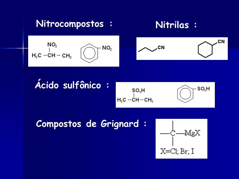 Nitrocompostos : Nitrilas : Ácido sulfônico : Compostos de Grignard :