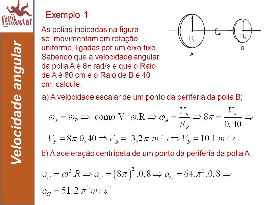 20 b) A aceleração centrípeta de um ponto da periferia da polia A. As polias indicadas na figura se movimentam em rotação uniforme, ligadas por um eix
