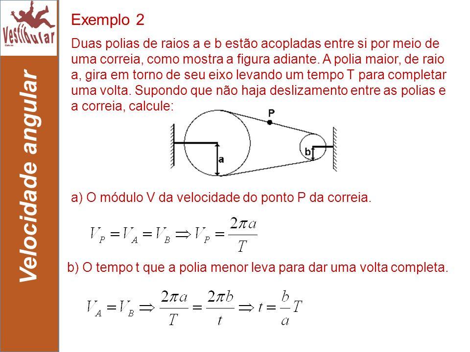 21 Velocidade angular b) O tempo t que a polia menor leva para dar uma volta completa. Duas polias de raios a e b estão acopladas entre si por meio de