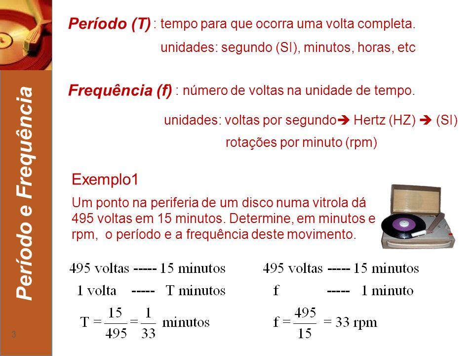 4 Período e Frequência Exemplo2 Calcule o período e a frequência, em segundos e hertz, do movimento da garrafinha localizada no ponteiro dos segundos do relógio ao lado.
