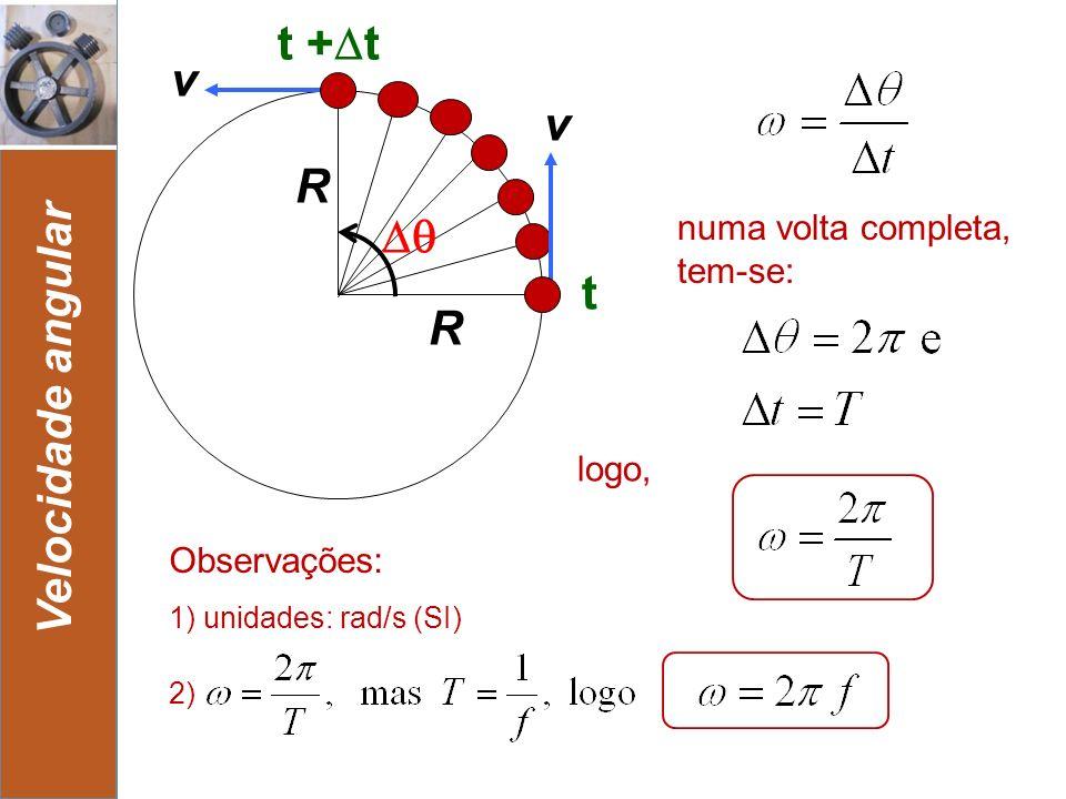 9 Velocidade angular t + t v R t v R numa volta completa, tem-se: Observações: logo, 1) unidades: rad/s (SI) 2)