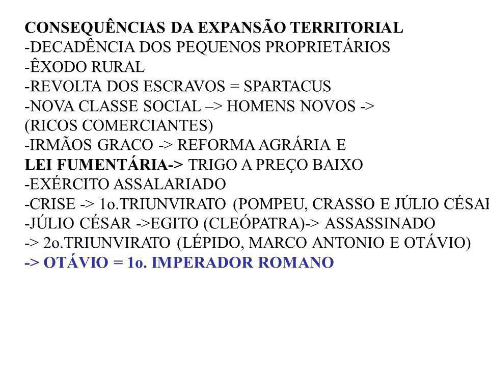 CONSEQUÊNCIAS DA EXPANSÃO TERRITORIAL -DECADÊNCIA DOS PEQUENOS PROPRIETÁRIOS -ÊXODO RURAL -REVOLTA DOS ESCRAVOS = SPARTACUS -NOVA CLASSE SOCIAL –> HOM