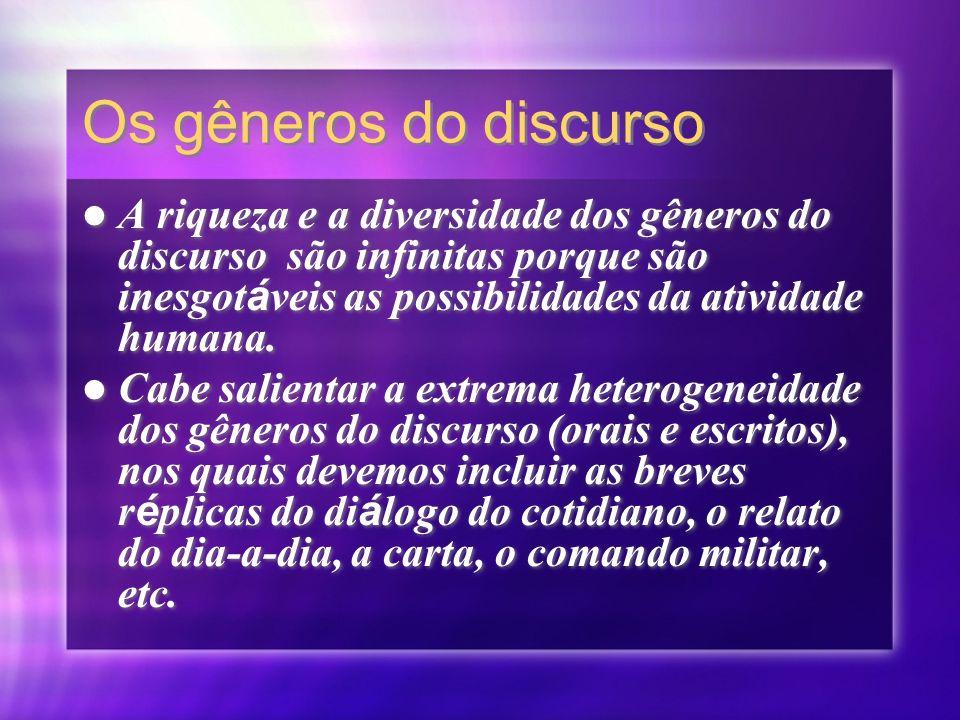 Gêneros do Discurso Exemplos: Carta E-mail Jornal Aula Palestra Romance Conto Relat ó rio Entrevista, etc.
