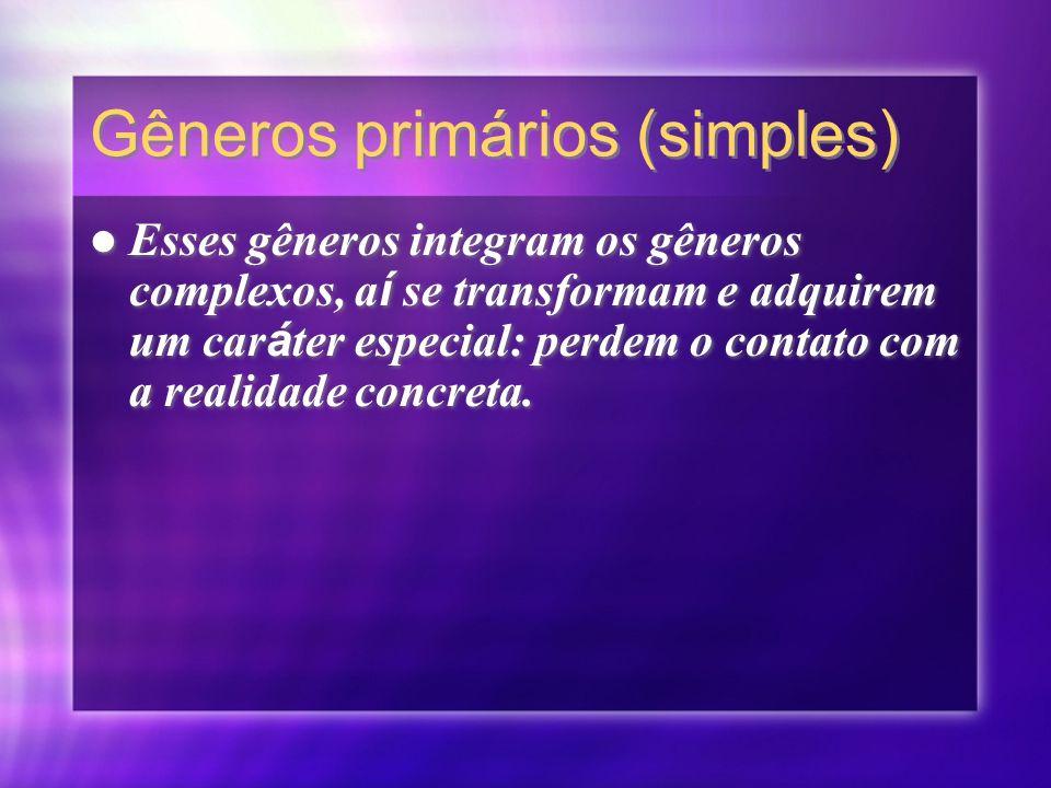 Gêneros Secundários (complexos) Comporta os gêneros prim á rios ou simples.