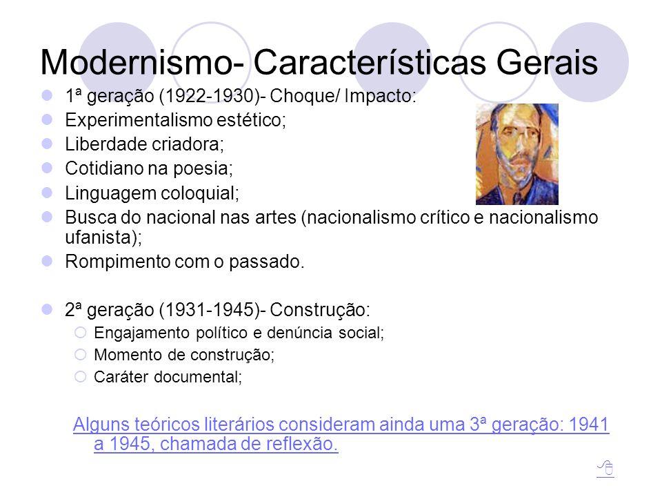 Modernismo- Características Gerais 1ª geração (1922-1930)- Choque/ Impacto: Experimentalismo estético; Liberdade criadora; Cotidiano na poesia; Lingua