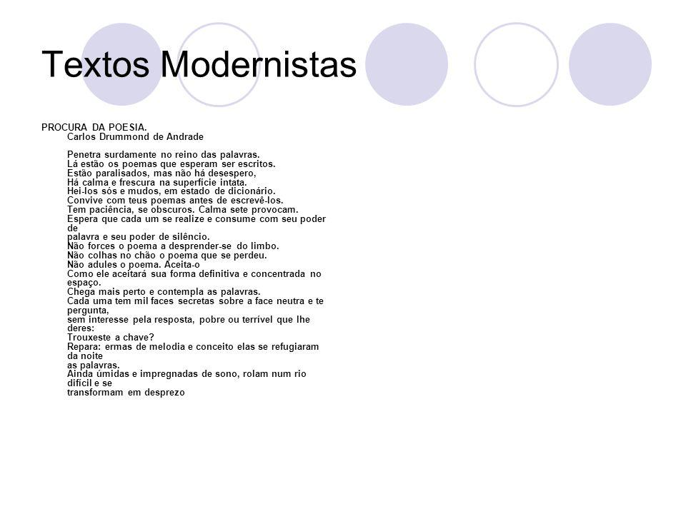 Textos Modernistas PROCURA DA POESIA. Carlos Drummond de Andrade Penetra surdamente no reino das palavras. Lá estão os poemas que esperam ser escritos
