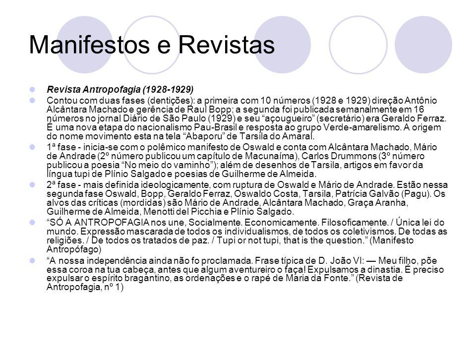 Manifestos e Revistas Revista Antropofagia (1928-1929) Contou com duas fases (dentições): a primeira com 10 números (1928 e 1929) direção Antônio Alcâ