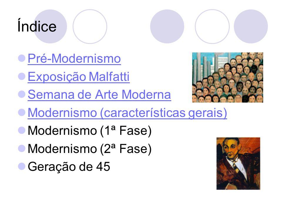 Índice Pré-Modernismo Exposição Malfatti Semana de Arte Moderna Modernismo (características gerais) Modernismo (1ª Fase) Modernismo (2ª Fase) Geração