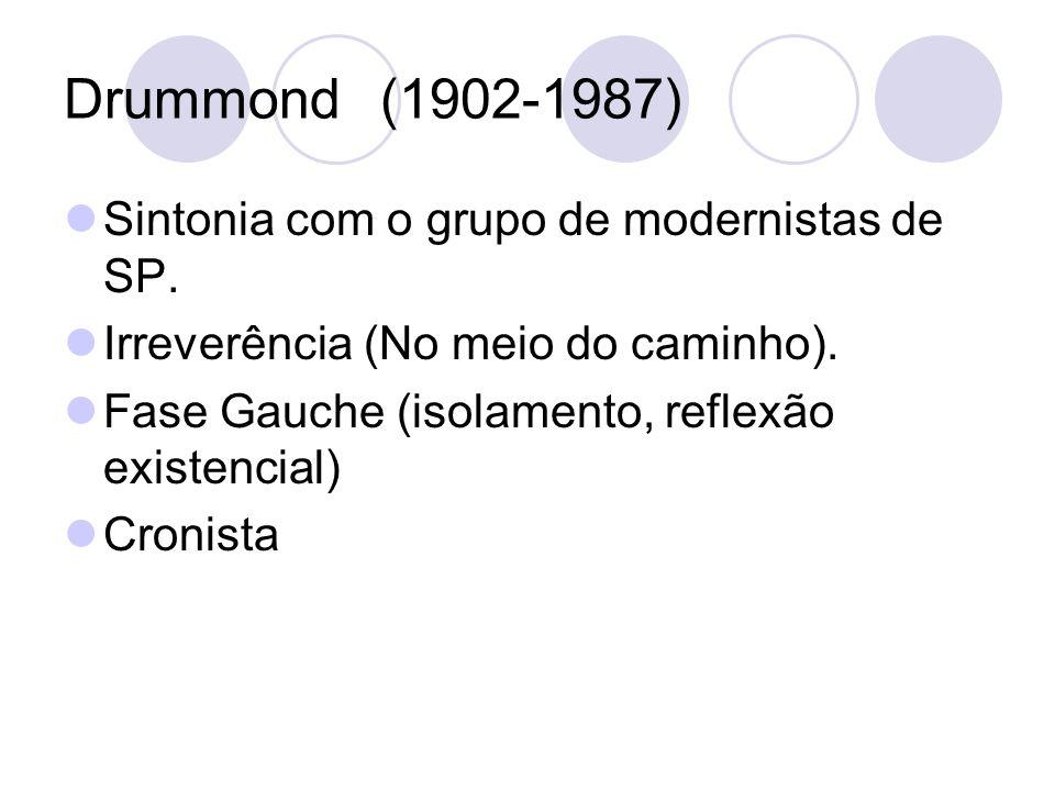 Drummond(1902-1987) Sintonia com o grupo de modernistas de SP. Irreverência (No meio do caminho). Fase Gauche (isolamento, reflexão existencial) Croni
