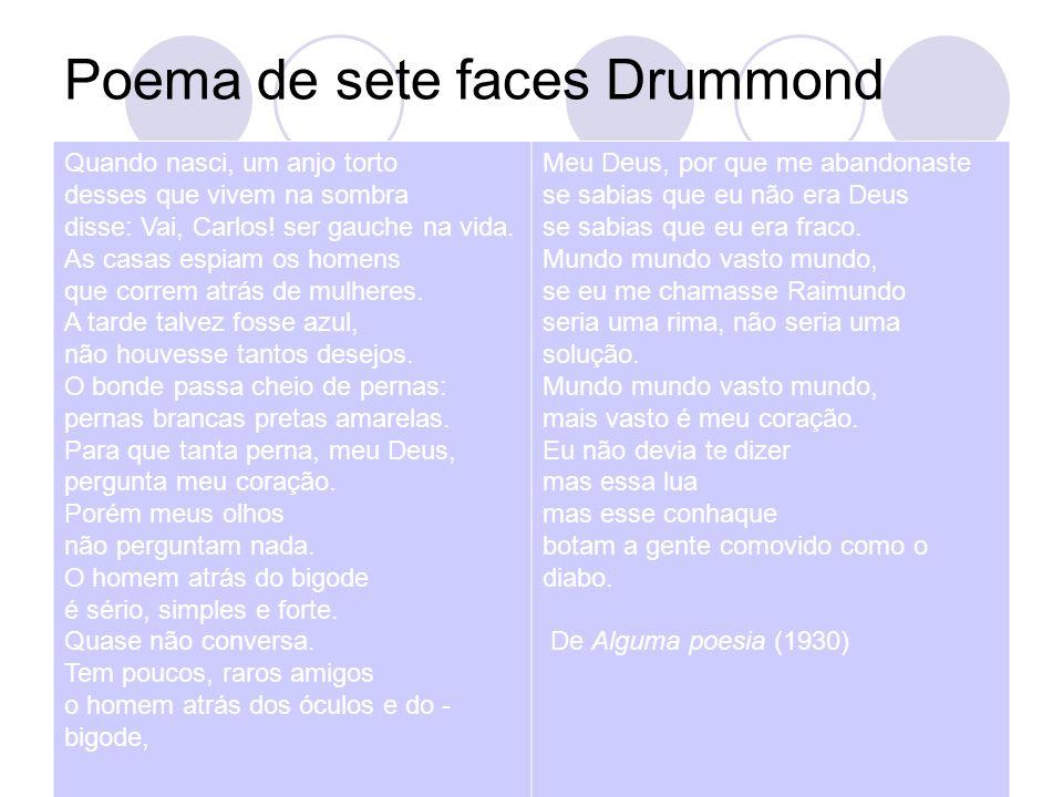 Poema de sete faces Drummond Quando nasci, um anjo torto desses que vivem na sombra disse: Vai, Carlos! ser gauche na vida. As casas espiam os homens