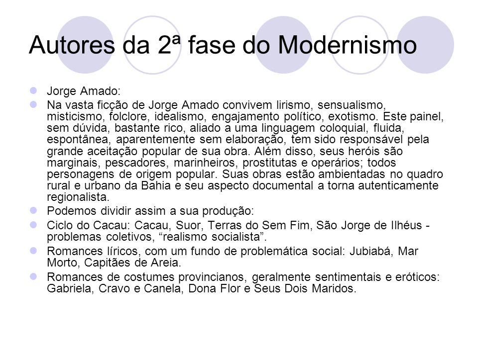 Autores da 2ª fase do Modernismo Jorge Amado: Na vasta ficção de Jorge Amado convivem lirismo, sensualismo, misticismo, folclore, idealismo, engajamen