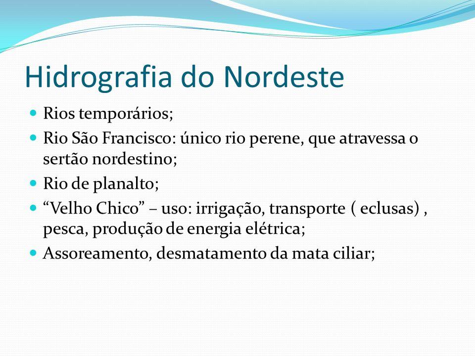 Hidrografia do Nordeste Rios temporários; Rio São Francisco: único rio perene, que atravessa o sertão nordestino; Rio de planalto; Velho Chico – uso: