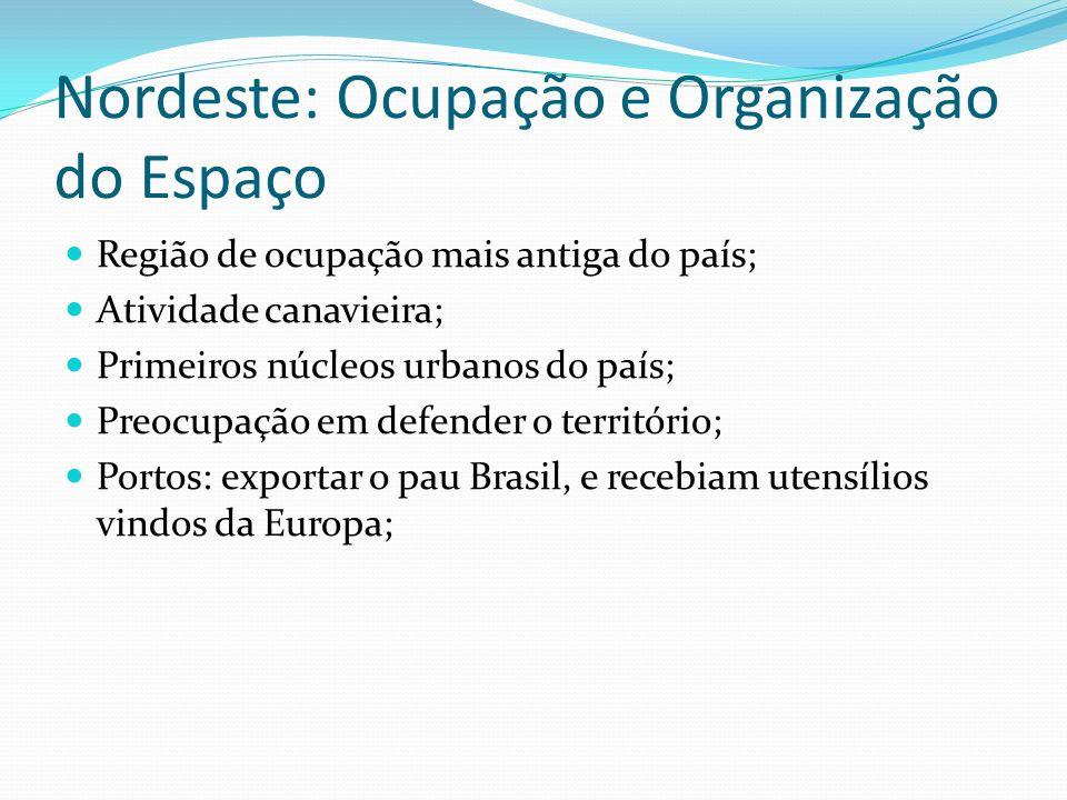 Nordeste: Ocupação e Organização do Espaço Região de ocupação mais antiga do país; Atividade canavieira; Primeiros núcleos urbanos do país; Preocupaçã