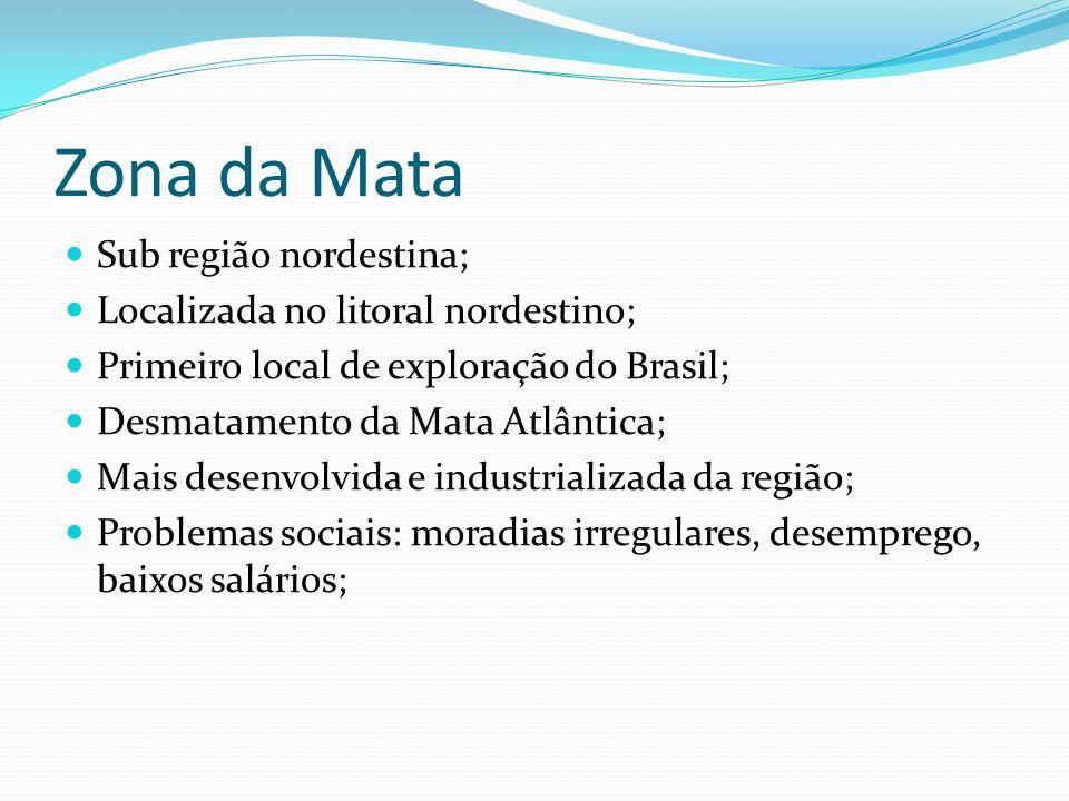 Zona da Mata Sub região nordestina; Localizada no litoral nordestino; Primeiro local de exploração do Brasil; Desmatamento da Mata Atlântica; Mais des