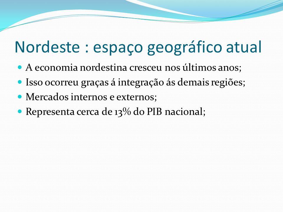 Nordeste : espaço geográfico atual A economia nordestina cresceu nos últimos anos; Isso ocorreu graças á integração ás demais regiões; Mercados intern