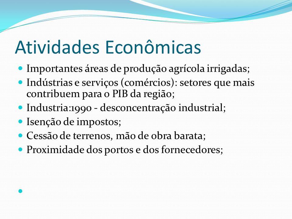 Atividades Econômicas Importantes áreas de produção agrícola irrigadas; Indústrias e serviços (comércios): setores que mais contribuem para o PIB da r