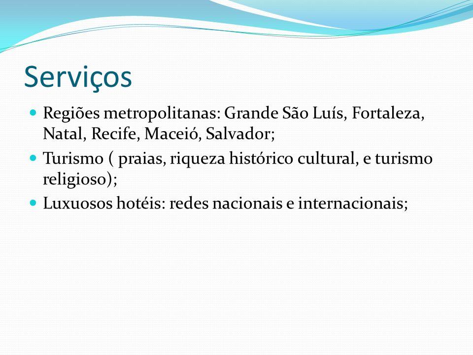 Serviços Regiões metropolitanas: Grande São Luís, Fortaleza, Natal, Recife, Maceió, Salvador; Turismo ( praias, riqueza histórico cultural, e turismo