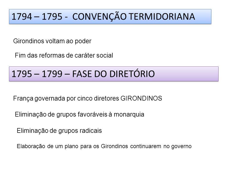 1794 – 1795 - CONVENÇÃO TERMIDORIANA Girondinos voltam ao poder Fim das reformas de caráter social 1795 – 1799 – FASE DO DIRETÓRIO França governada po