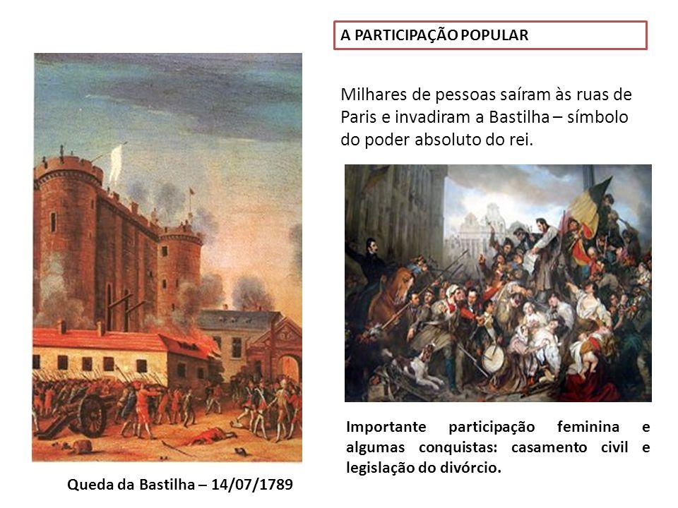 Queda da Bastilha – 14/07/1789 A PARTICIPAÇÃO POPULAR Milhares de pessoas saíram às ruas de Paris e invadiram a Bastilha – símbolo do poder absoluto d