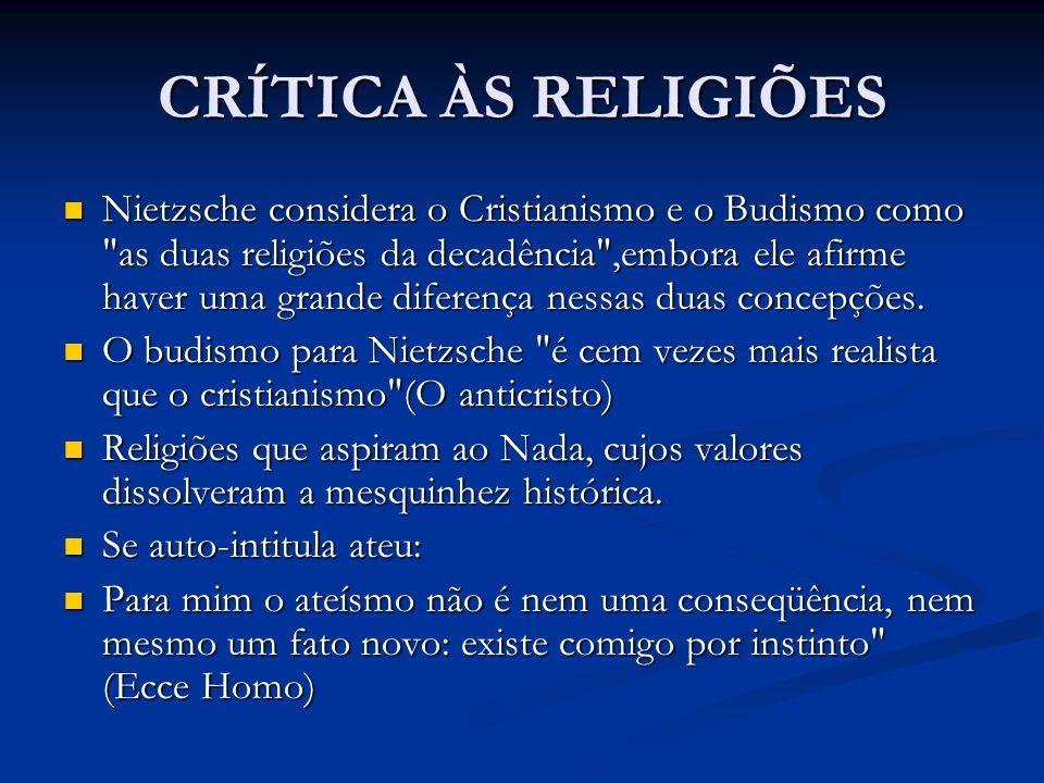 CRÍTICA ÀS RELIGIÕES Nietzsche considera o Cristianismo e o Budismo como