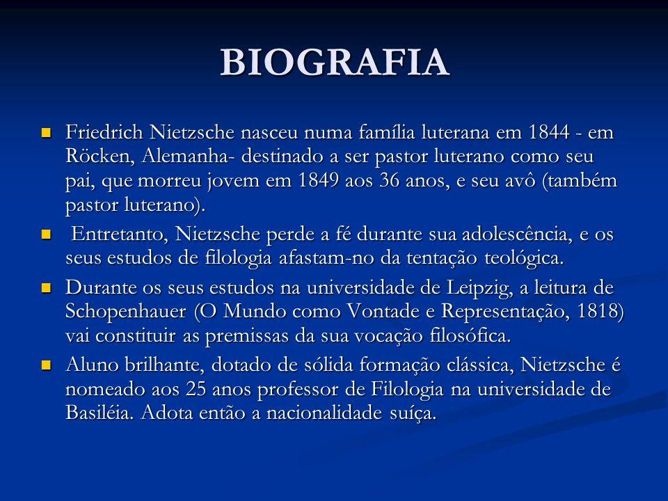 BIOGRAFIA Friedrich Nietzsche nasceu numa família luterana em 1844 - em Röcken, Alemanha- destinado a ser pastor luterano como seu pai, que morreu jov