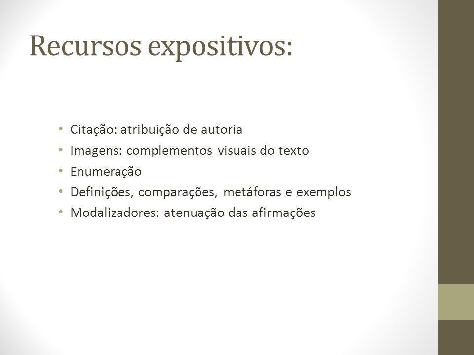 Recursos expositivos: Citação: atribuição de autoria Imagens: complementos visuais do texto Enumeração Definições, comparações, metáforas e exemplos M