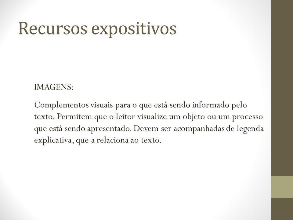 Recursos expositivos IMAGENS: Complementos visuais para o que está sendo informado pelo texto. Permitem que o leitor visualize um objeto ou um process