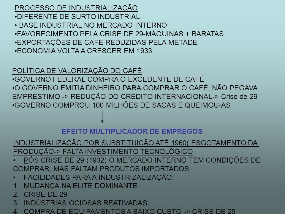 PROCESSO DE INDUSTRIALIZAÇÃO DIFERENTE DE SURTO INDUSTRIAL BASE INDUSTRIAL NO MERCADO INTERNO FAVORECIMENTO PELA CRISE DE 29-MÁQUINAS + BARATAS EXPORTAÇÕES DE CAFÉ REDUZIDAS PELA METADE ECONOMIA VOLTA A CRESCER EM 1933 POLÍTICA DE VALORIZAÇÃO DO CAFÉ GOVERNO FEDERAL COMPRA O EXCEDENTE DE CAFÉ O GOVERNO EMITIA DINHEIRO PARA COMPRAR O CAFÉ, NÃO PEGAVA EMPRÉSTIMO -> REDUÇÃO DO CRÉDITO INTERNACIONAL-> Crise de 29 GOVERNO COMPROU 100 MILHÕES DE SACAS E QUEIMOU-AS EFEITO MULTIPLICADOR DE EMPREGOS INDUSTRIALIZAÇÃO POR SUBSTITUIÇÃO ATÉ 1960( ESGOTAMENTO DA PRODUÇÃO-> FALTA INVESTIMENTO TECNOLÓGICO PÓS CRISE DE 29 (1932) O MERCADO INTERNO TEM CONDIÇÕES DE COMPRAR, MAS FALTAM PRODUTOS IMPORTADOS FACILIDADES PARA A INDUSTRIZALIZAÇÃO: 1.MUDANÇA NA ELITE DOMINANTE 2.CRISE DE 29 3.INDÚSTRIAS OCIOSAS REATIVADAS; 4.COMPRA DE EQUIPAMENTOS A BAIXO CUSTO -> CRISE DE 29