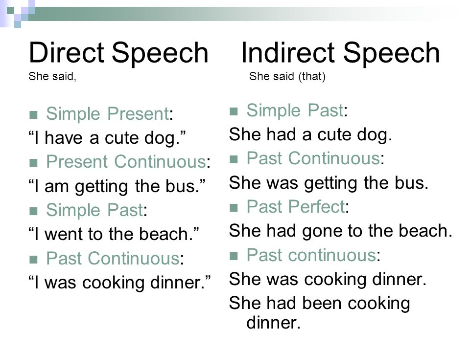 Direct Speech Indirect Speech She said, She said (that) Simple Present: I have a cute dog. Present Continuous: I am getting the bus. Simple Past: I we