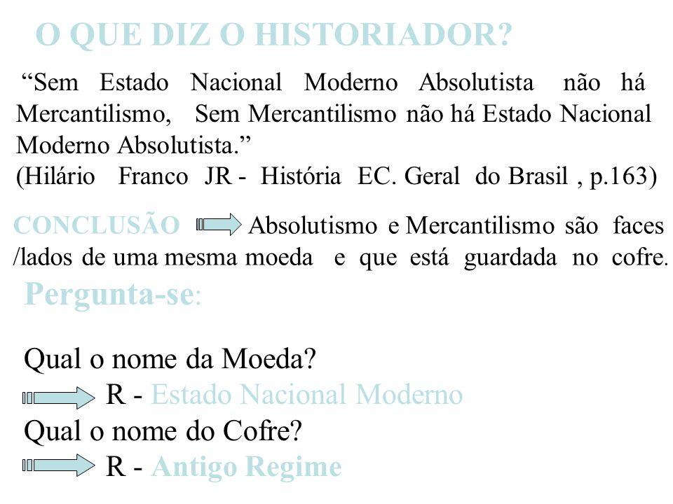 Sem Estado Nacional Moderno Absolutista não há Mercantilismo, Sem Mercantilismo não há Estado Nacional Moderno Absolutista.