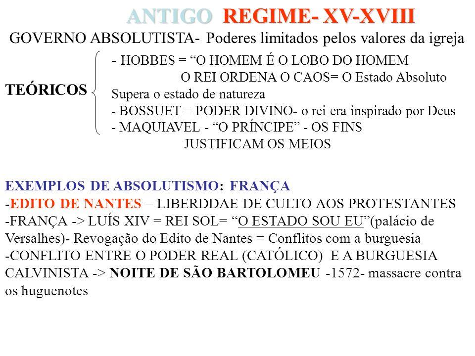ANTIGO REGIME- XV-XVIII ANTIGO REGIME- XV-XVIII GOVERNO ABSOLUTISTA- Poderes limitados pelos valores da igreja - HOBBES = O HOMEM É O LOBO DO HOMEM O REI ORDENA O CAOS= O Estado Absoluto Supera o estado de natureza - BOSSUET = PODER DIVINO- o rei era inspirado por Deus - MAQUIAVEL - O PRÍNCIPE - OS FINS JUSTIFICAM OS MEIOS EXEMPLOS DE ABSOLUTISMO: FRANÇA -EDITO DE NANTES – LIBERDDAE DE CULTO AOS PROTESTANTES -FRANÇA -> LUÍS XIV = REI SOL= O ESTADO SOU EU(palácio de Versalhes)- Revogação do Edito de Nantes = Conflitos com a burguesia -CONFLITO ENTRE O PODER REAL (CATÓLICO) E A BURGUESIA CALVINISTA -> NOITE DE SÃO BARTOLOMEU -1572- massacre contra os huguenotes TEÓRICOS