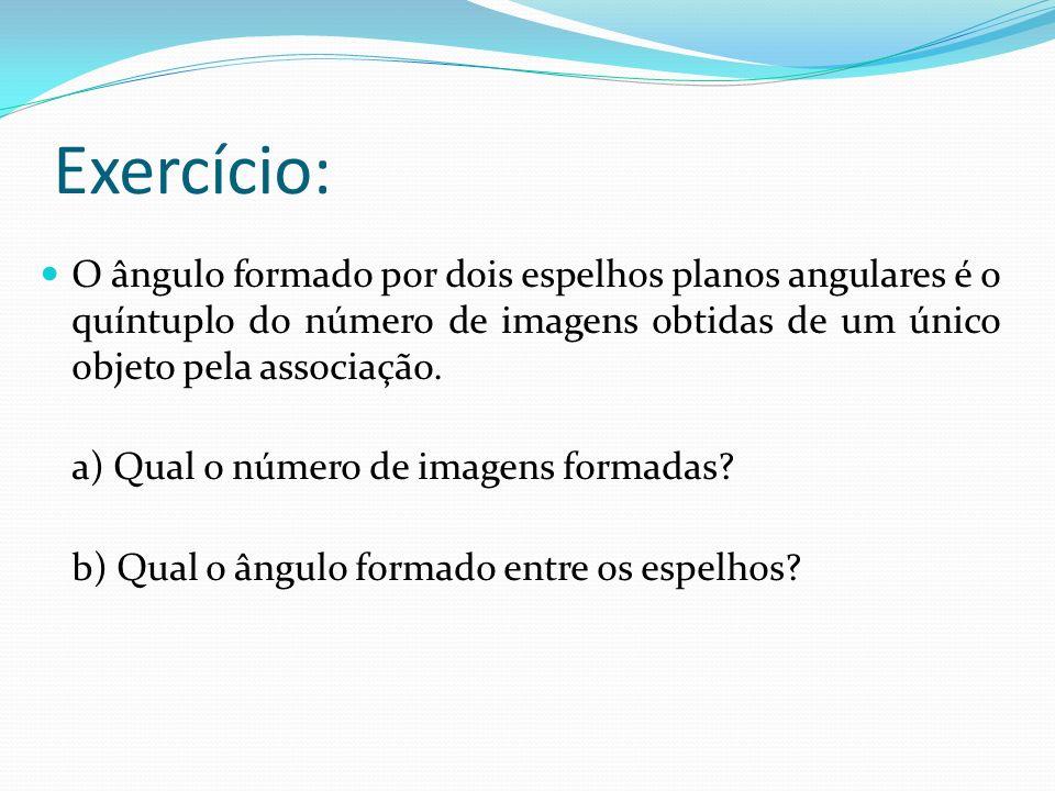 Exercício: O ângulo formado por dois espelhos planos angulares é o quíntuplo do número de imagens obtidas de um único objeto pela associação. a) Qual