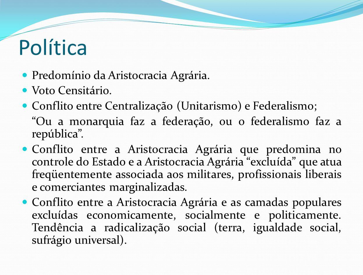 Política Predomínio da Aristocracia Agrária. Voto Censitário. Conflito entre Centralização (Unitarismo) e Federalismo; Ou a monarquia faz a federação,