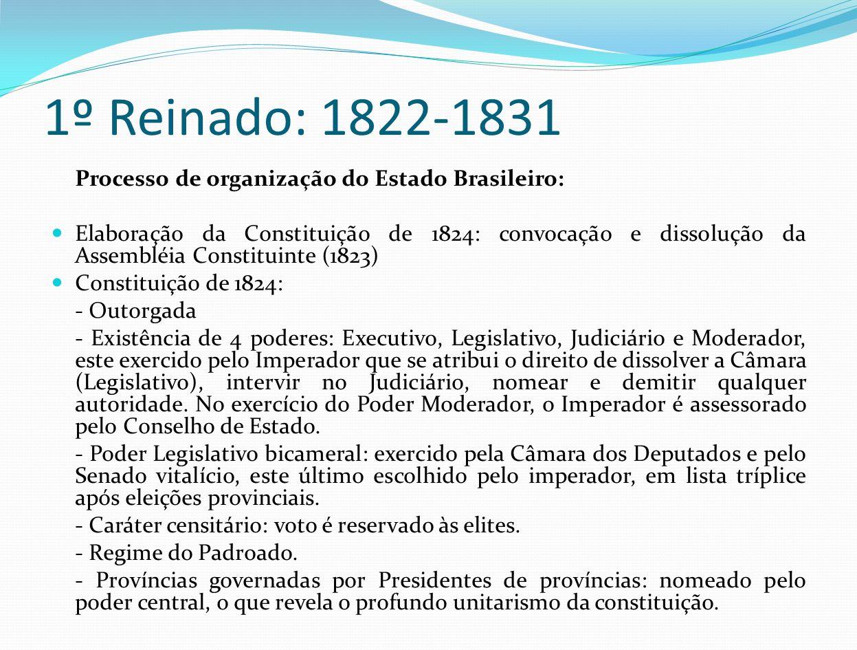 1º Reinado: 1822-1831 Processo de organização do Estado Brasileiro: Elaboração da Constituição de 1824: convocação e dissolução da Assembléia Constitu