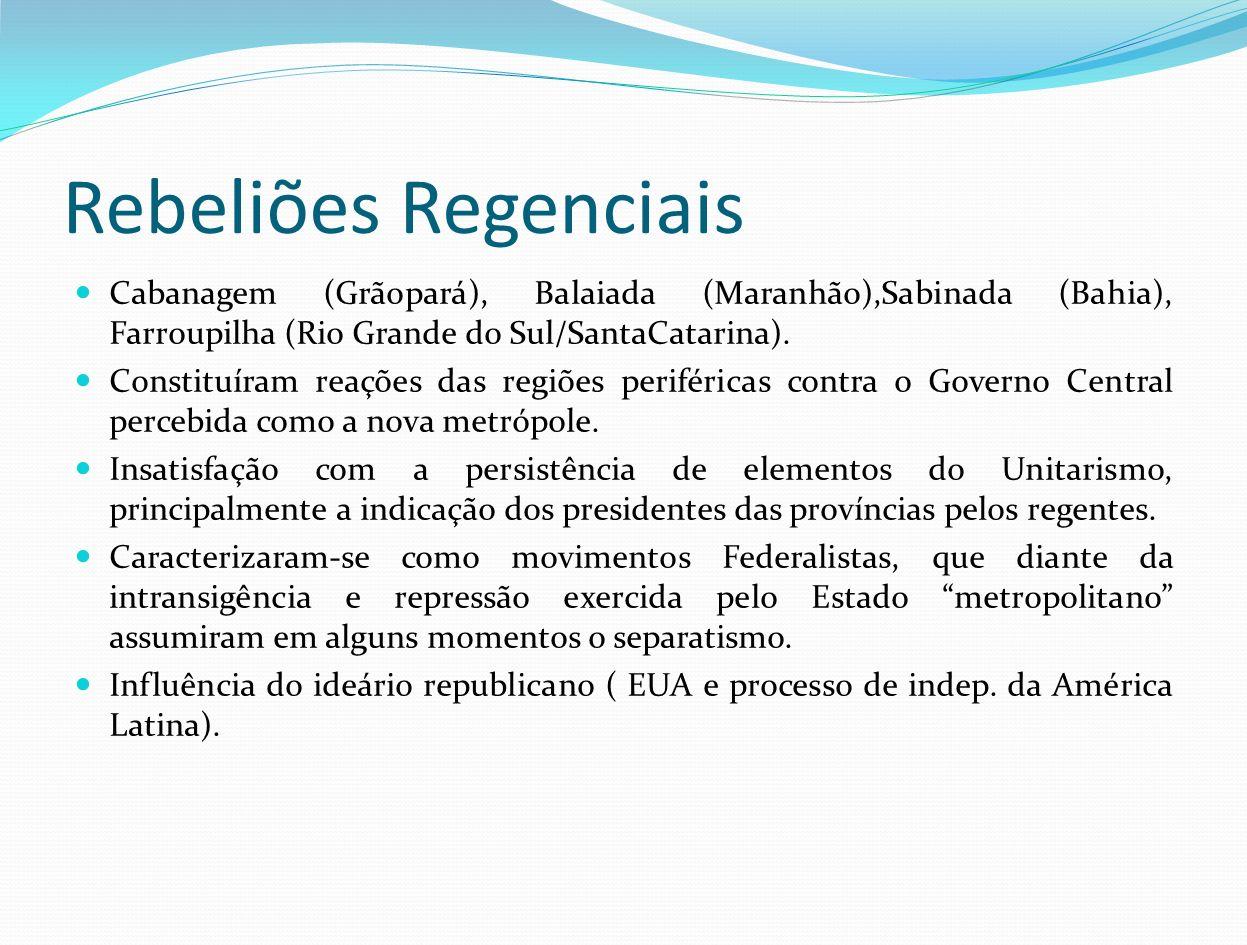 Rebeliões Regenciais Cabanagem (Grãopará), Balaiada (Maranhão),Sabinada (Bahia), Farroupilha (Rio Grande do Sul/SantaCatarina). Constituíram reações d