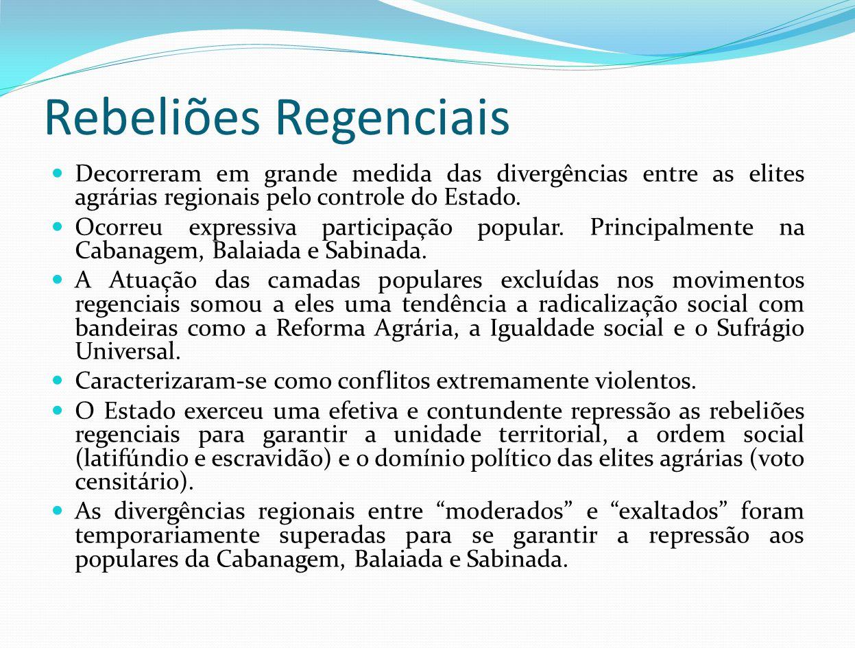 Rebeliões Regenciais Decorreram em grande medida das divergências entre as elites agrárias regionais pelo controle do Estado. Ocorreu expressiva parti
