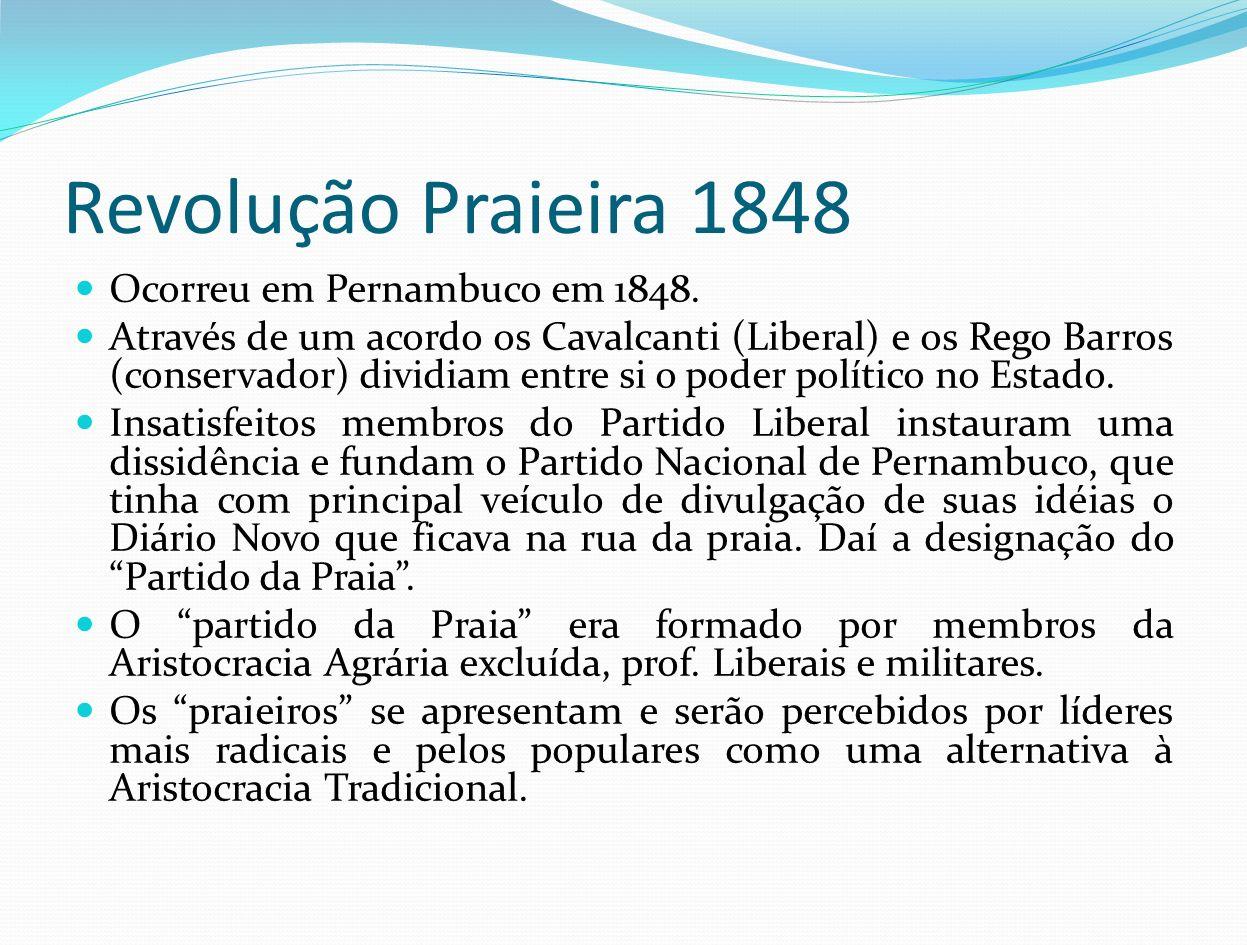 Revolução Praieira 1848 Ocorreu em Pernambuco em 1848. Através de um acordo os Cavalcanti (Liberal) e os Rego Barros (conservador) dividiam entre si o