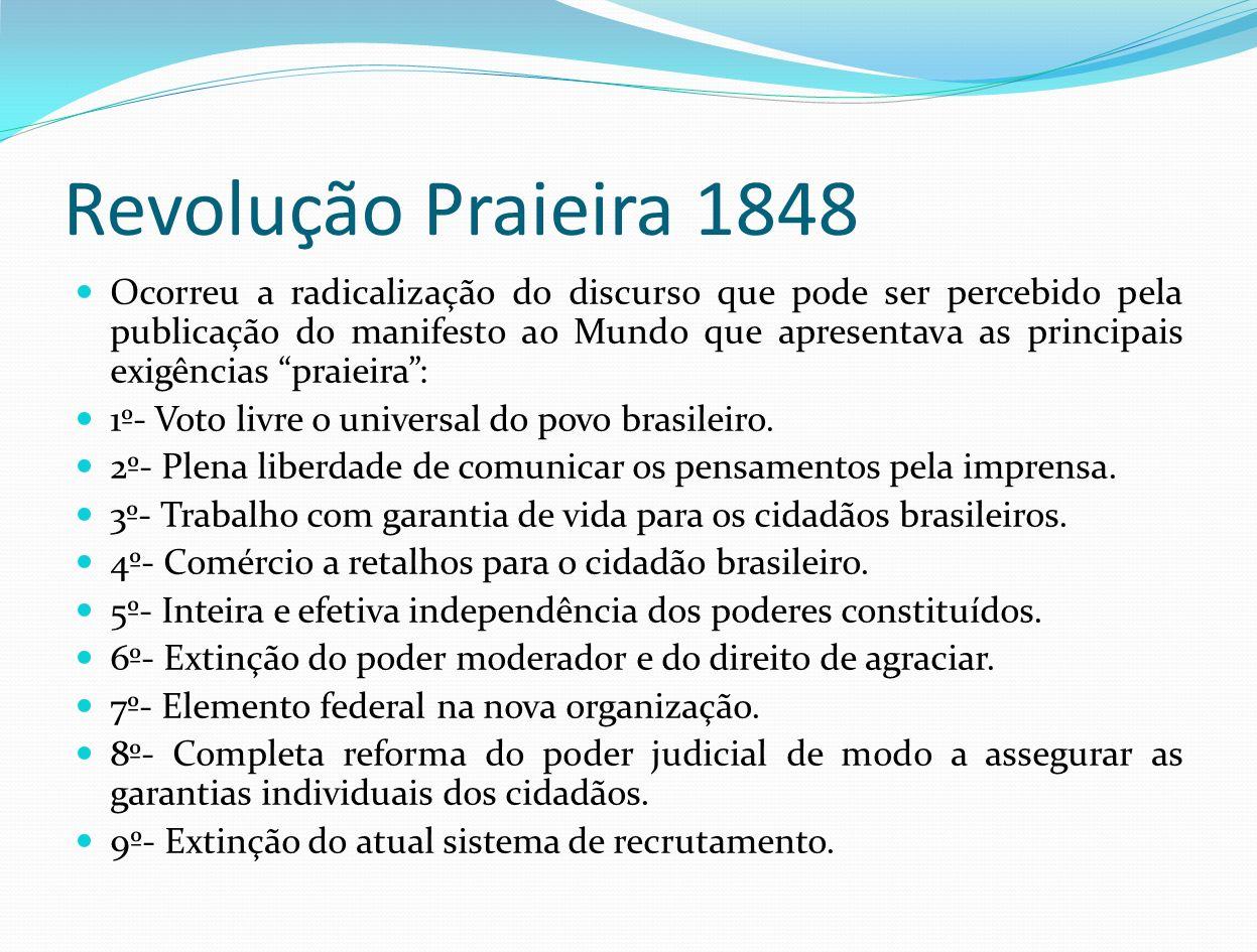 Revolução Praieira 1848 Ocorreu a radicalização do discurso que pode ser percebido pela publicação do manifesto ao Mundo que apresentava as principais