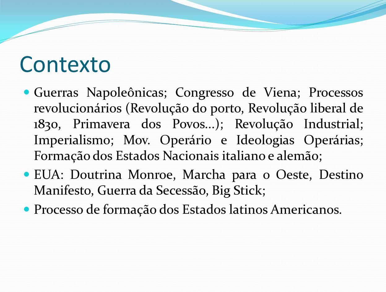 Contexto Guerras Napoleônicas; Congresso de Viena; Processos revolucionários (Revolução do porto, Revolução liberal de 1830, Primavera dos Povos...);