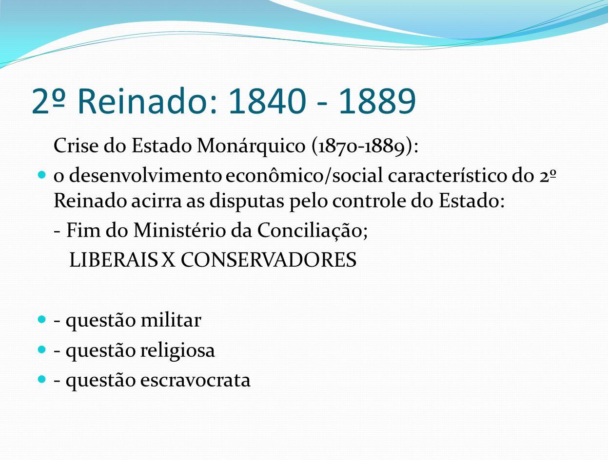 2º Reinado: 1840 - 1889 Crise do Estado Monárquico (1870-1889): o desenvolvimento econômico/social característico do 2º Reinado acirra as disputas pel
