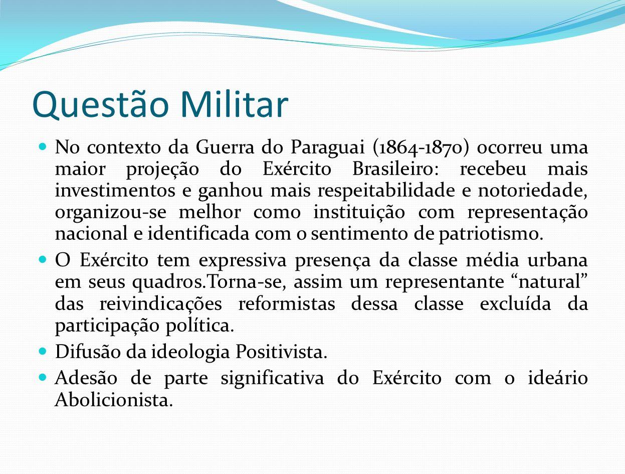 Questão Militar No contexto da Guerra do Paraguai (1864-1870) ocorreu uma maior projeção do Exército Brasileiro: recebeu mais investimentos e ganhou m