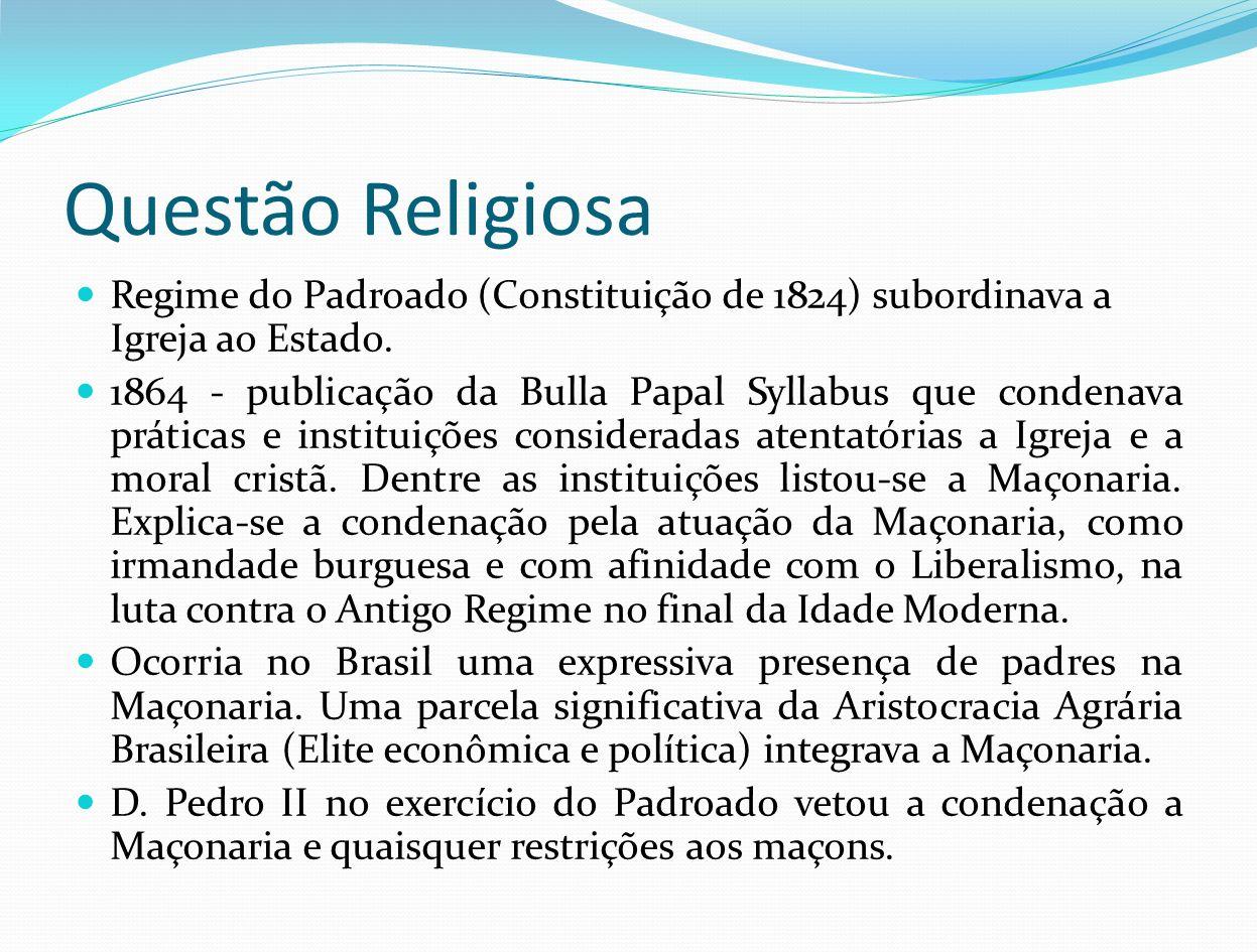 Questão Religiosa Regime do Padroado (Constituição de 1824) subordinava a Igreja ao Estado. 1864 - publicação da Bulla Papal Syllabus que condenava pr