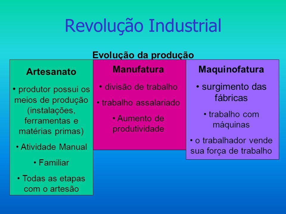 Revolução Industrial Etapas da industrialização 1ª REVOLUÇÃO-1760 a 1850 - Restrita a Inglaterra; energia a vapor; bens de consumo (tecidos)- SOLIDÃO DO PIONEIRO 2ª.