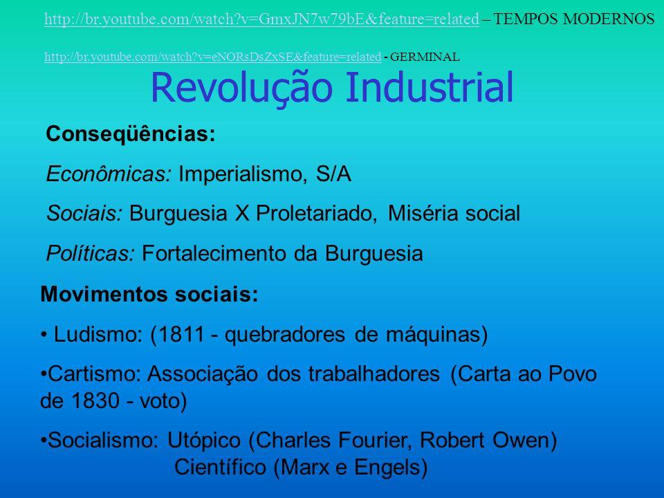 Revolução Industrial Conseqüências: Econômicas: Imperialismo, S/A Sociais: Burguesia X Proletariado, Miséria social Políticas: Fortalecimento da Burguesia Movimentos sociais: Ludismo: (1811 - quebradores de máquinas) Cartismo: Associação dos trabalhadores (Carta ao Povo de 1830 - voto) Socialismo: Utópico (Charles Fourier, Robert Owen) Científico (Marx e Engels) http://br.youtube.com/watch?v=GmxJN7w79bE&feature=relatedhttp://br.youtube.com/watch?v=GmxJN7w79bE&feature=related – TEMPOS MODERNOS http://br.youtube.com/watch?v=eNORsDsZxSE&feature=relatedhttp://br.youtube.com/watch?v=eNORsDsZxSE&feature=related - GERMINAL