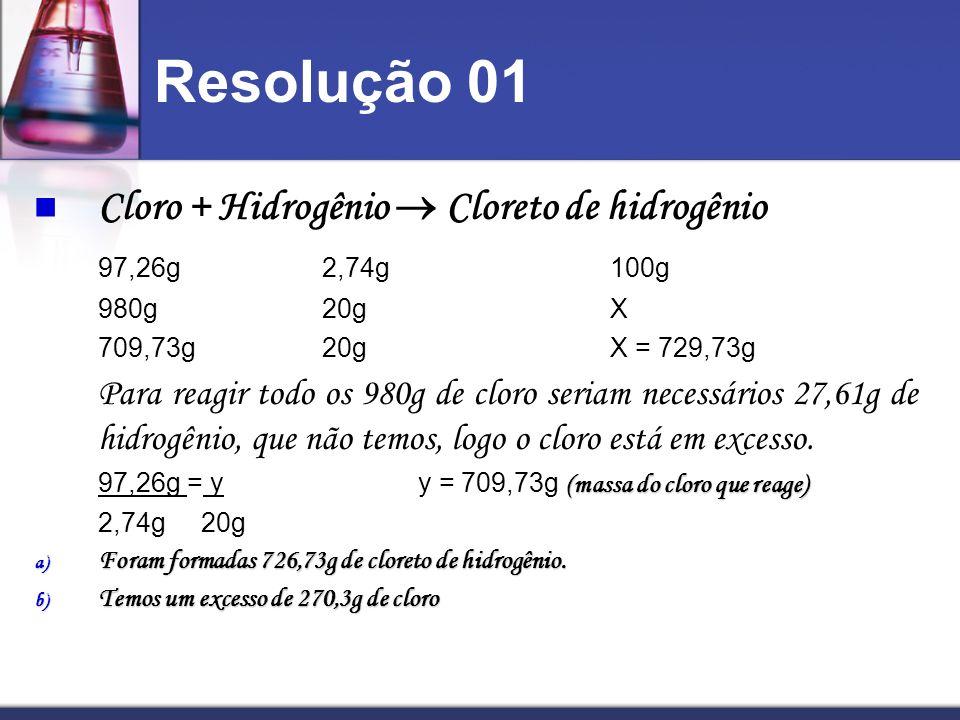 Resolução 01 Cloro + Hidrogênio Cloreto de hidrogênio 97,26g2,74g100g 980g20gX 709,73g20gX = 729,73g Para reagir todo os 980g de cloro seriam necessár