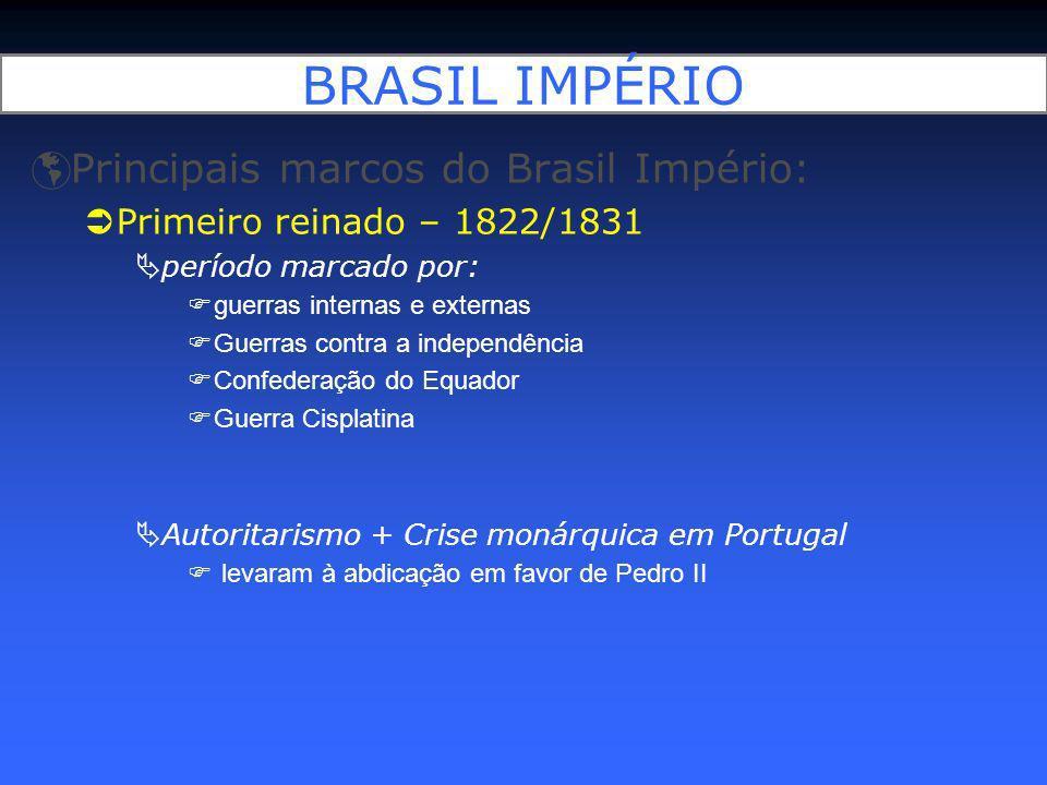 BRASIL IMPÉRIO Principais marcos do Brasil Império: Primeiro reinado – 1822/1831 período marcado por: guerras internas e externas Guerras contra a ind