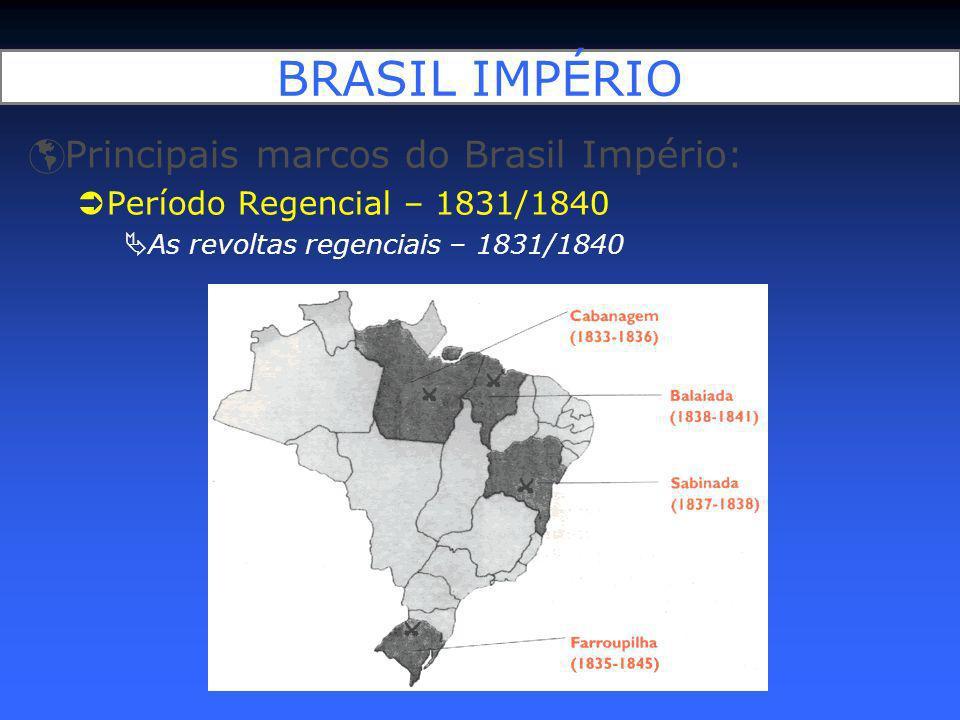 BRASIL IMPÉRIO Principais marcos do Brasil Império: Período Regencial – 1831/1840 As revoltas regenciais – 1831/1840