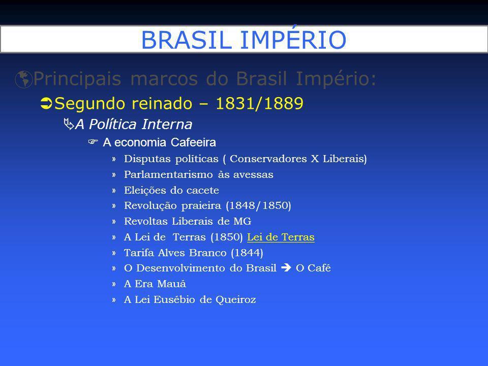 BRASIL IMPÉRIO Principais marcos do Brasil Império: Segundo reinado – 1831/1889 A Política Interna A economia Cafeeira »Disputas políticas ( Conservad