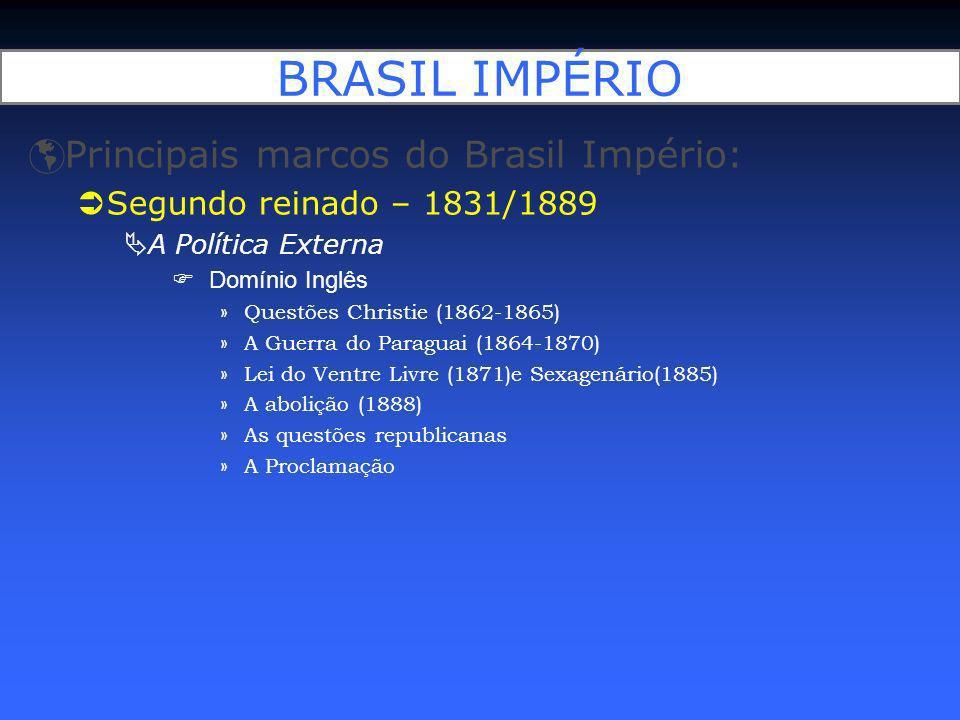 BRASIL IMPÉRIO Principais marcos do Brasil Império: Segundo reinado – 1831/1889 A Política Externa Domínio Inglês »Questões Christie (1862-1865) »A Gu